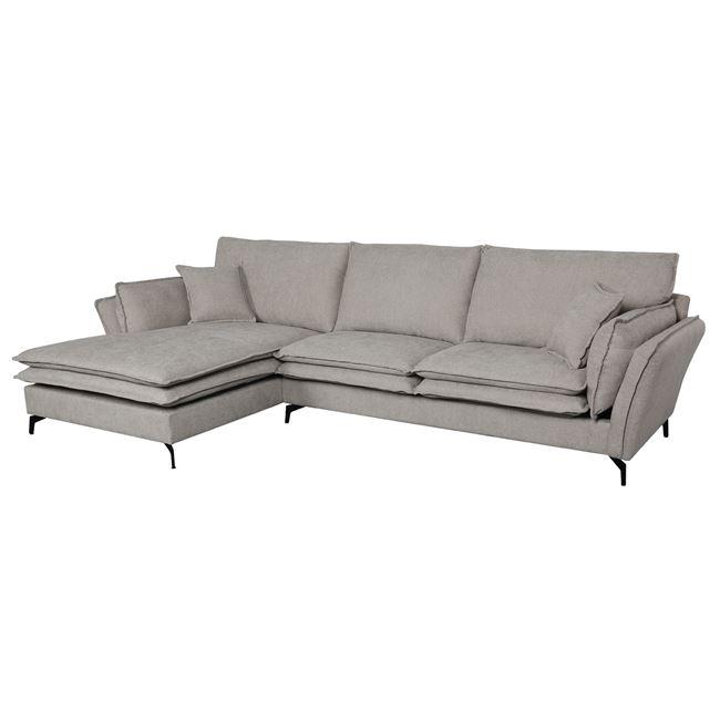 Ъглов диван ,бежов,дамаска,памук,Е 9671,R