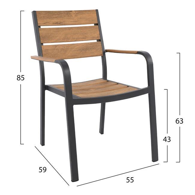 Алуминиев стол,метален,черен,НМ 5127.02