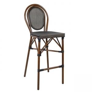 Бар стол ,алуминиев,кафяв,текстиленова мрежа,НМ 5059