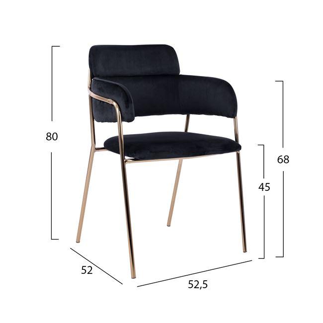 Черен стол KELSO Нм8521.04,метален,злато