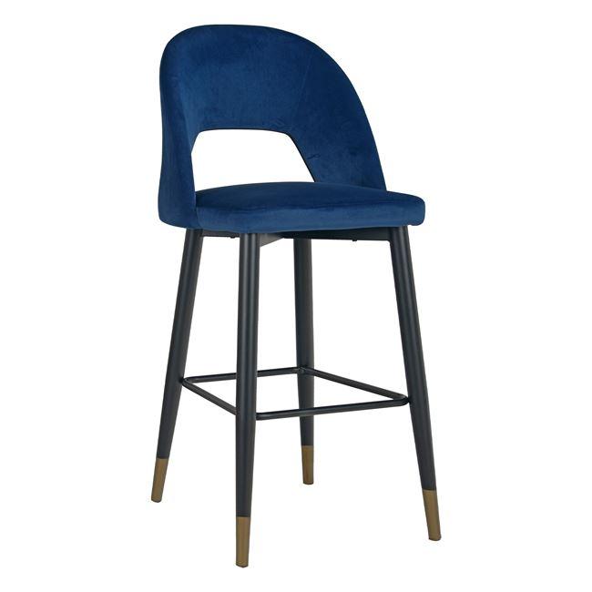 Бар стол ,метален ,син,дамаска,кадифе,НМ8526 blue