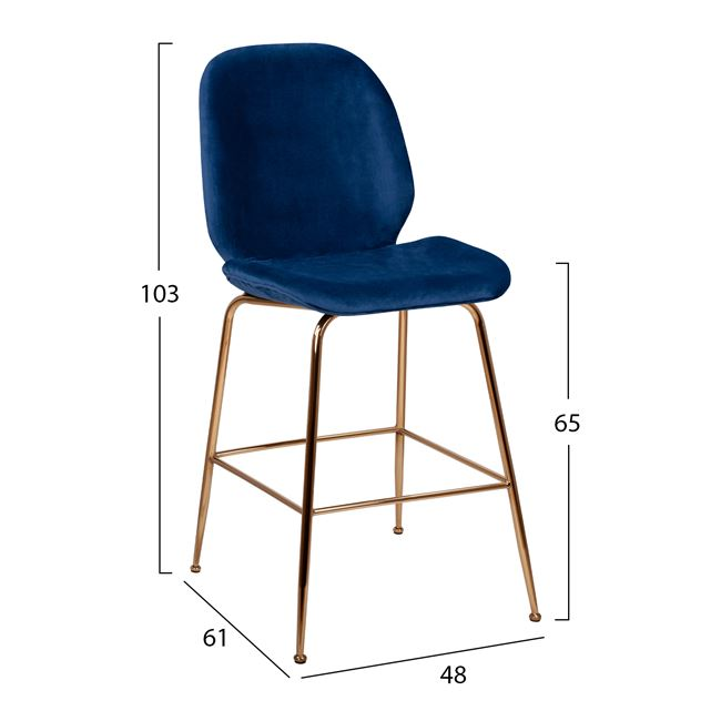 Бар стол,син,кадифе,дамаска,ННМ8524-BLue