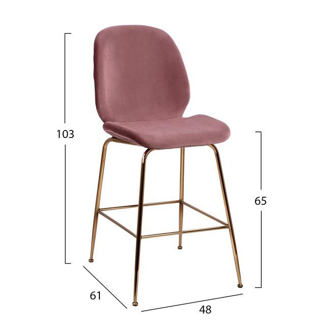 бар стол,златен,дамаска кадифе,метален,НМ8524
