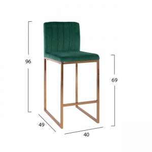 Метален бар стол,златист,кадифе,зелен,