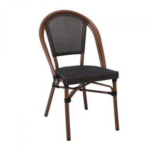 алуминиев кафяв стол,Е288,градински,текстиленова мрежа