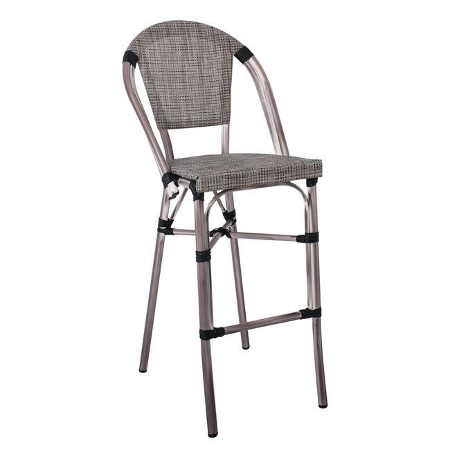 градински бар стол Е 289,1,сив,алуминиев,текстилен.
