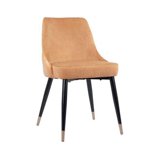 Трапезен стол HM8527.09,кадифе,жълт,горчица,метални крака.