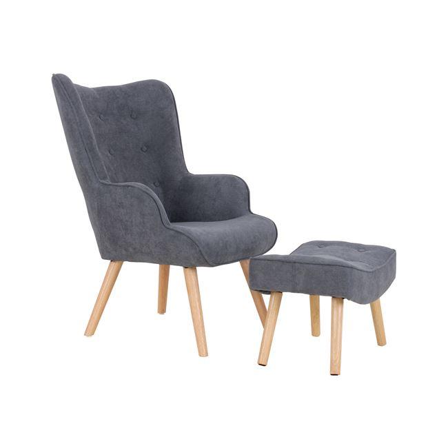 релакс кресло с дамаска,сиво,дърво,Em 143,3S
