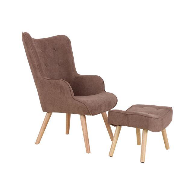 кресло реакс,дърво,кафяво,дамаска,Ем 143,1S