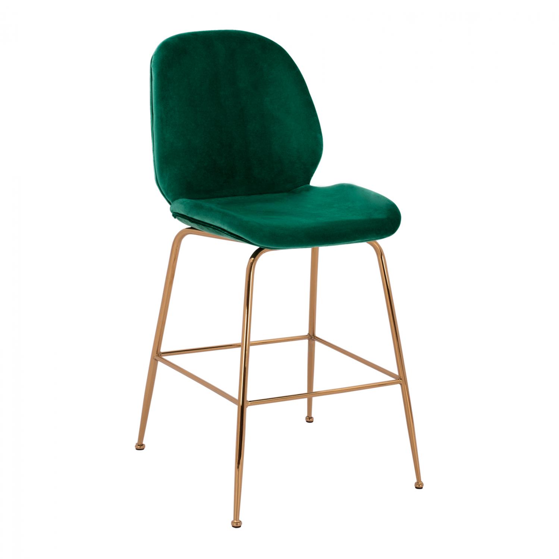 Бар стол,метален,тапициран,зелен,златоHM8524.03,